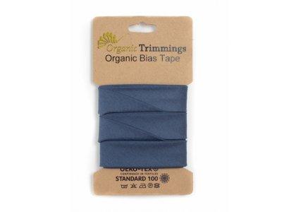 Popeline Organic Cotton Schrägband/Einfassband gefalzt 20 mm Breit x 5 Meter Coupon - uni jeansblau
