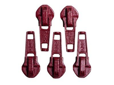 Slider/Zipper/Automatikschieber für Reißverschlüsse Größe 5 - Set 5 Stück - beere