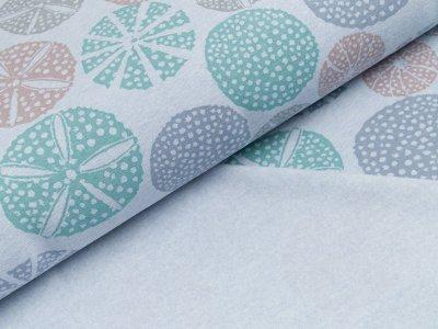 Leicht angerauter Sweat Organic Cotton - gemusterte Kreise - meliert blau