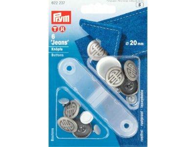 Prym 6 NF-Jeans-Knöpfe 20mm - silberfarben