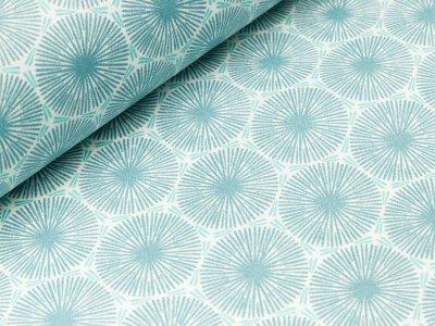 Beschichteter Baumwollstoff - Blumen-Ornamente - blau