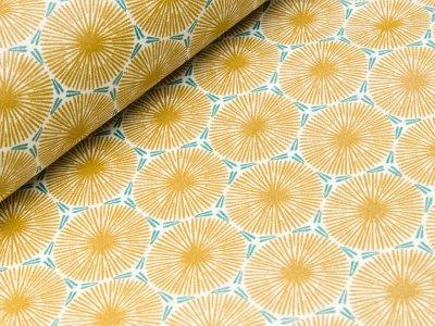 Beschichteter Baumwollstoff - Blumen-Ornamente - senfgelb