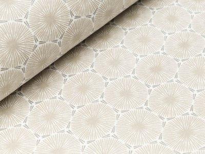 Beschichteter Baumwollstoff - Blumen-Ornamente - grau