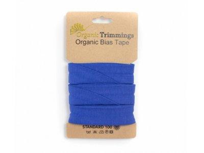 Jersey Organic Cotton Schrägband/Einfassband gefalzt 20 mm Breit x 3 Meter Coupon - uni royalblau