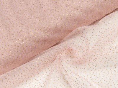 Tüll mit Glitzer - kleine Punkte - rosa