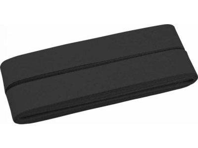 Hochwertiges Schrägband Baumwolle gefalzt 20 mm - 5 Meter Coupon - uni schwarz