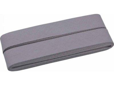 Hochwertiges Schrägband Baumwolle gefalzt 20 mm - 5 Meter Coupon - uni steingrau