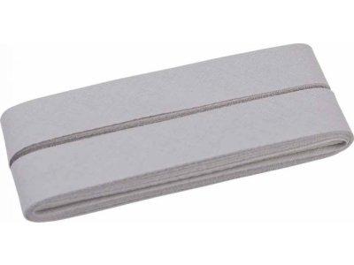 Hochwertiges Schrägband Baumwolle gefalzt 20 mm - 5 Meter Coupon - uni helles grau
