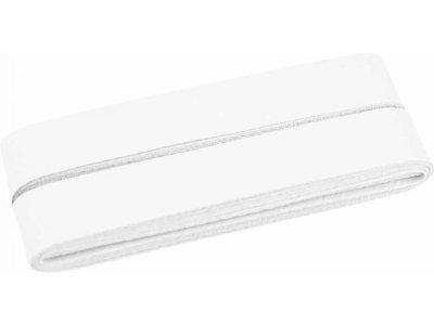 Hochwertiges Schrägband Baumwolle gefalzt 20 mm - 5 Meter Coupon - uni weiß