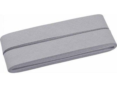 Hochwertiges Schrägband Baumwolle gefalzt 20 mm - 5 Meter Coupon - uni mausgrau