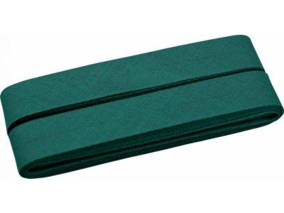 Hochwertiges Schrägband Baumwolle gefalzt 20 mm - 5 Meter Coupon - uni waldgrün