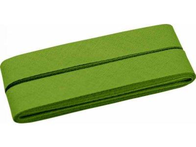 Hochwertiges Schrägband Baumwolle gefalzt 20 mm - 5 Meter Coupon - uni mossgrün