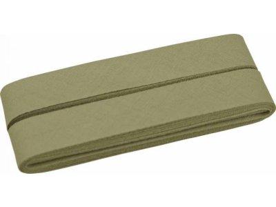 Hochwertiges Schrägband Baumwolle gefalzt 20 mm - 5 Meter Coupon - uni altgrün