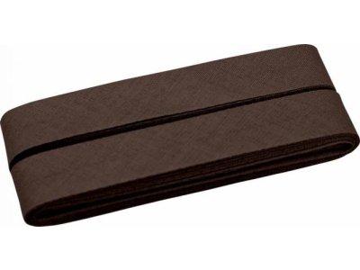 Hochwertiges Schrägband Baumwolle gefalzt 20 mm - 5 Meter Coupon - uni schokobraun