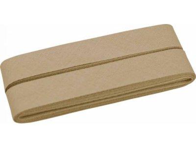 Hochwertiges Schrägband Baumwolle gefalzt 20 mm - 5 Meter Coupon - uni dunkles beige