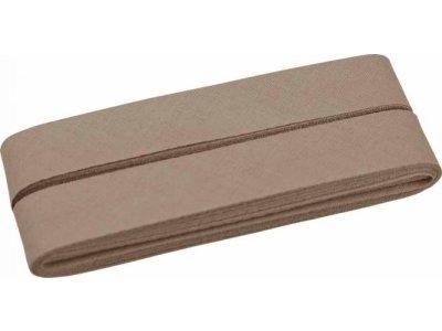 Hochwertiges Schrägband Baumwolle gefalzt 20 mm - 5 Meter Coupon - uni schlamm