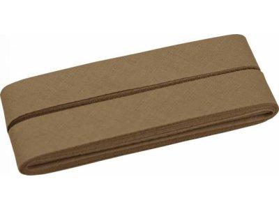 Hochwertiges Schrägband Baumwolle gefalzt 20 mm - 5 Meter Coupon - uni erdbraun
