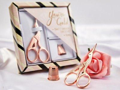 Display Geschenkset Storchenschere - goldfarben