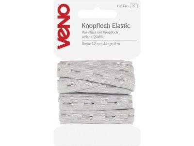 Knopfloch Elastic SB 12mm x 3m Coupon - weiß