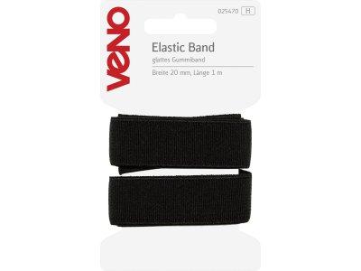 Elastic Band glatt SB 20mm x 1m Coupon - schwarz