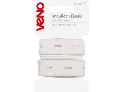 Knopfloch Elastic glattes Band gewebt SB 20mm x 1m Coupon - weiß