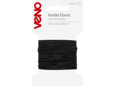 Elastic Kordel 1mm x 3m Coupon SB - schwarz