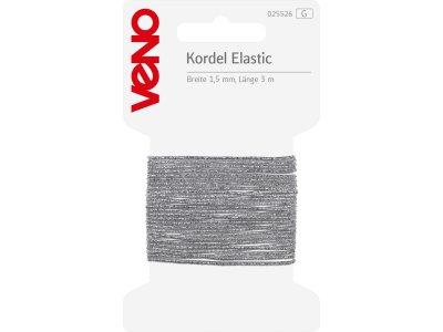 Elastic Kordel SB 1,5mm x 3m - silberfarben