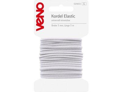 Elastic Kordel SB 3mm x 3m Coupon - weiß