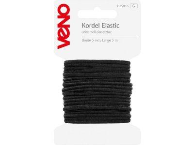 Elastic Kordel SB 3mm x 3m Coupon - schwarz