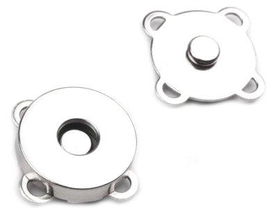 Magnetverschluss 4 Stk. ( 16 Teile ) zum Annähen Ø18 mm - nickel