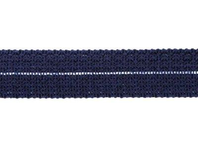 Einfasstresse Wolle 32 mm - Wellenmuster - marine
