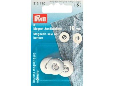 Prym 3 Magnet-Annähknöpfe 19 mm - silberfarben