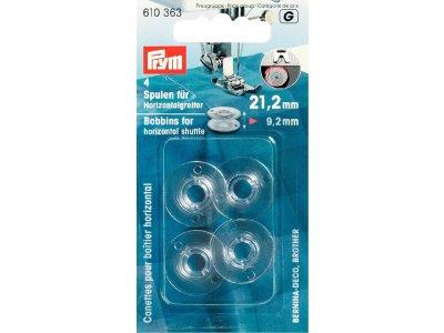 Prym 4 Nähmaschinen-Spulen für Horizontalgreifer 21,2mm x 9,2 mm - transparent
