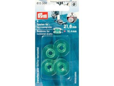 Prym 4 Nähmaschinen-Spulen für Horizontalgreifer 21,6mm x 10,4mm - transparent