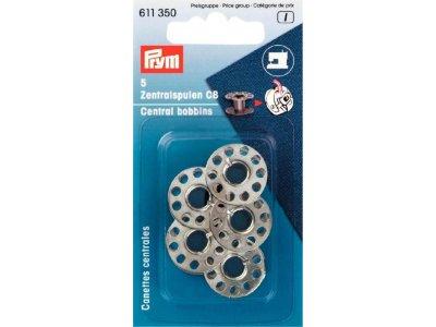 Prym 5 metallische Nähmaschinen-Spulen für CB Greifer 11,7mm - silberfarben