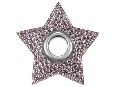 Ösen Patches Stern für Kordeln VENO Lederimitat grau-metallic