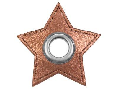 Ösen Patches Stern für Kordeln VENO Lederimitat kupfer metallic