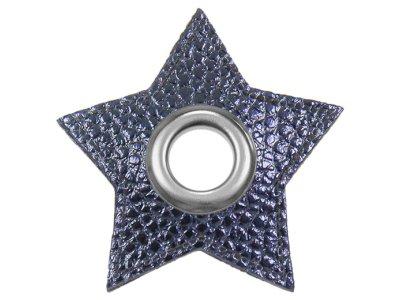 Ösen Patches Stern für Kordeln VENO Lederimitat marine