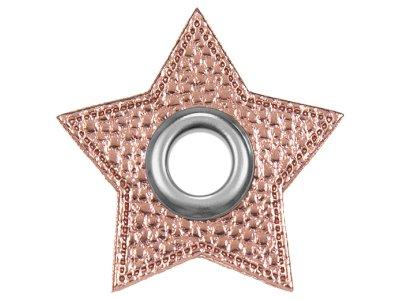 Ösen Patches Stern für Kordeln VENO Lederimitat rosa-metallic