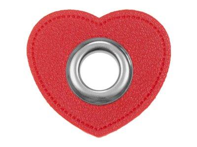 Ösen Patches Herz für Kordeln VENO Lederimitat rot