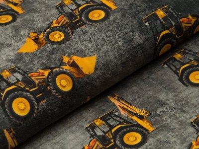 Jersey Digitaldruck - Baufahrzeuge auf Beton - Optik - grau