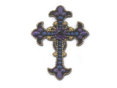 Applikation Gothic Kreuz mit Glitzerstein lila