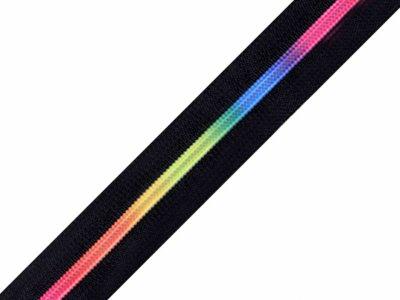 Endlos-Reißverschluss 6mm -  Regenbogen - schwarz
