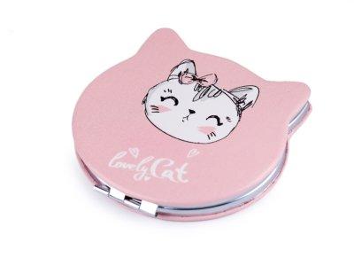 Kosmetikspiegel Katze 7 x 7,6 cm - lovley Cat - rosa