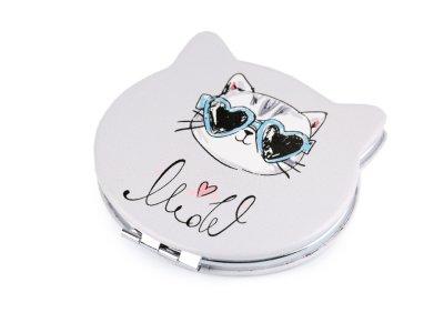 Kosmetikspiegel Katze 7 x 7,6 cm - Miow - helles grau