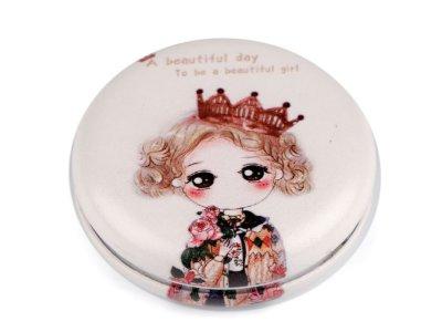 Kosmetikspiegel 7cm - Mädchen mit Krone - creme