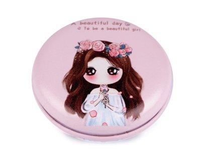 Kosmetikspiegel 7cm - Mädchen mit Blumenkranz - rosè
