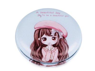 Kosmetikspiegel 7cm - Mädchen mit Hut - pastellblau