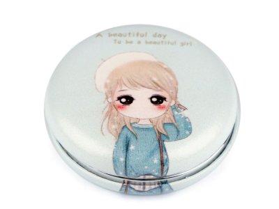 Kosmetikspiegel 7cm - Mädchen mit Mütze - mint