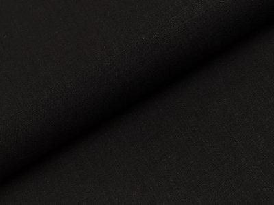 Elastischer Leinenstoff - uni schwarz